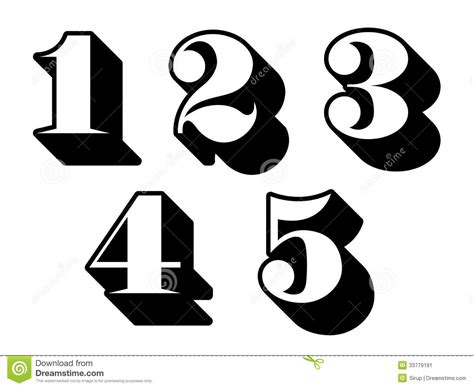 Black And White Numbers Digits 1, 2, 3, 4, 5 Stock Vector
