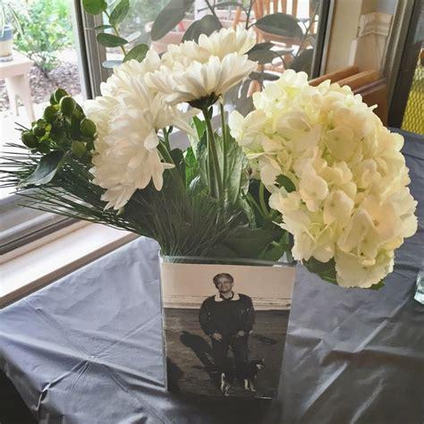photo floral arrangement centerpiece from dad s milestone