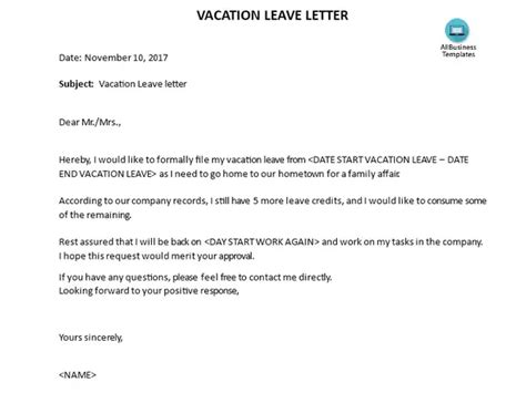 what are some exles of a vacation leave letter quora