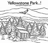 Cabin Coloring Printable Drawing Yellowstone Mountain Adults Forest Simple Wildlife Adult Cabins Drawings Cottages Sketch Wolf Realistic Nature Template Vacation sketch template