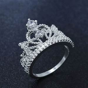 european silver plated romantic princess crown ring design With crown design wedding rings