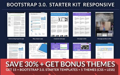 bootstrap starter template bootstrap starter responsive kit website templates on creative market