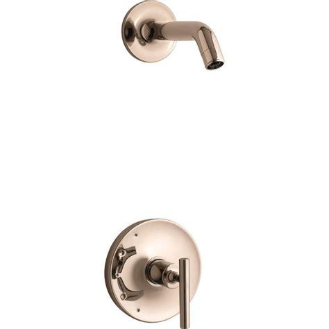 kohler purist vibrant rose gold  handle shower faucet