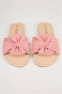 Pink Schlüpf Sandalen mit Schleife in Extra Weiter Passform