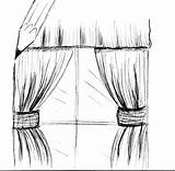 Curtain Drawing Curtains Sketch Coloring Template sketch template