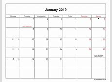 January 2019 Calendar Printable with Bank Holidays UK