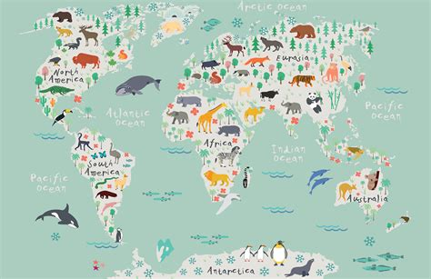 Animal Map Of The World Wallpaper - safari map mural wallpaper muralswallpaper co uk