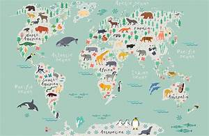 Safari kids map mural wallpaper muralswallpapercouk for Kitchen colors with white cabinets with kids world map wall art