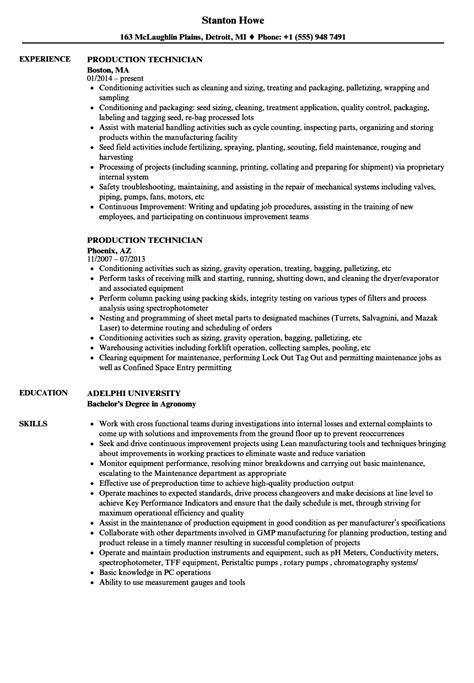 production technician resume sles velvet