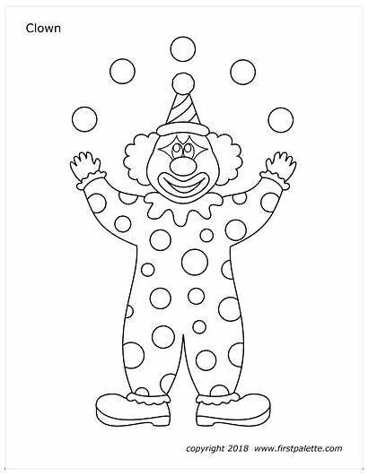 Printable Clown Clowns Coloring Pages Juggling Circus