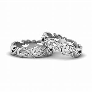 filigree wedding bands for lesbian couple in 14k white With wedding rings for gay couples