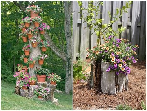 Tree Stump Decorating Ideas - 5 artistic concepts to embellish with tree trunks or