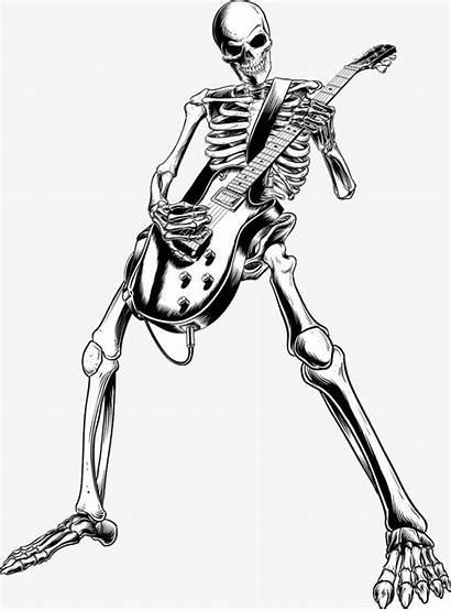 Skeleton Skull Guitar Rock Clipart Electric Roll