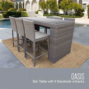 Oasis Bar Table Set With Barstools 7 Piece Outdoor Wicker