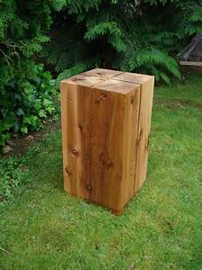 Hand, Crafted, Solid, Cedar, Block, Side, Table, By, Wood, Shed