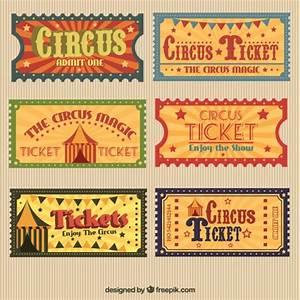 Retro circus tickets pack Vector | Premium Download