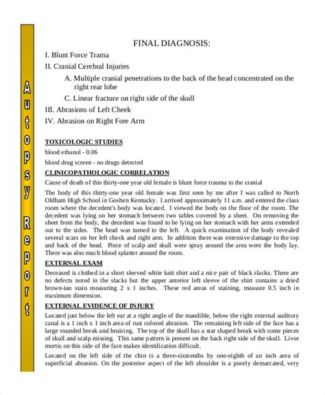 autopsy report template   word  documents