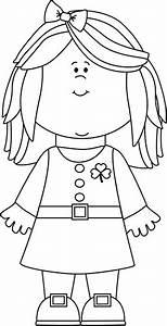 Black and White Saint Patrick's Day Girl Clip Art - Black ...