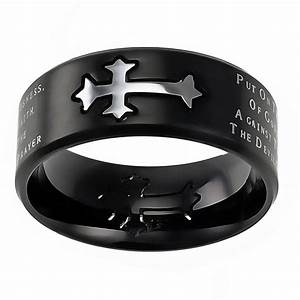 armor of god black neo cross ring st neo aog blk men With men s christian wedding rings