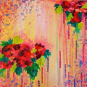 STRAWBERRY CONFETTI PAINTING Abstract Acrylic Floral Art