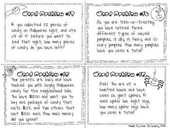 monster math halloween word problems by love to learn