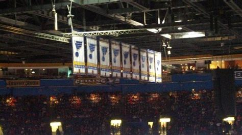 kiel center parking garage st louis blues retired number banners picture of