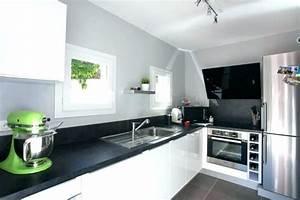 Cuisine Blanc Et Noir : cuisine blanche plan de travail noir cuisine plan travail 4 plan cuisine en credence pour ~ Voncanada.com Idées de Décoration