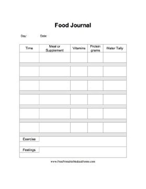 A printable food journal specifically for use post