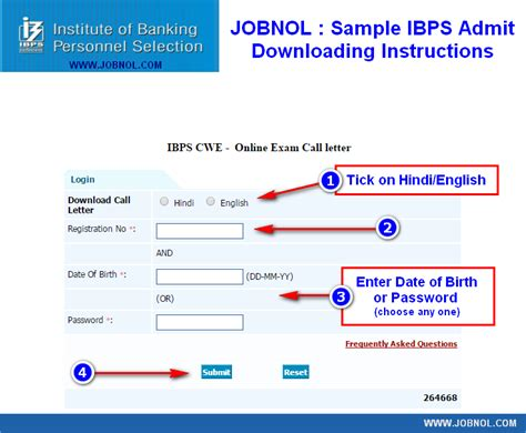 ibps call letter cwe specialist officer  admit card