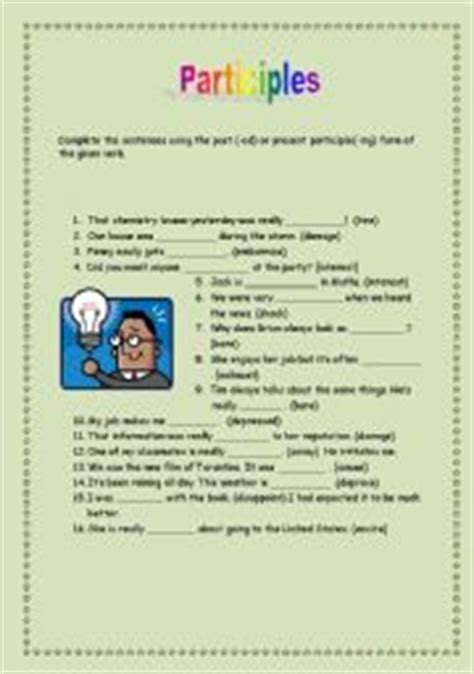 teaching worksheets participle