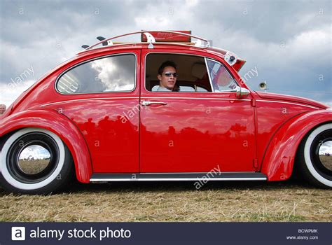 Classic Red Vw Beetle Lowrider Stock Photo Royalty Free