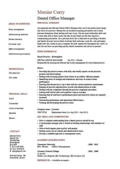 dental office manager resume  sample template