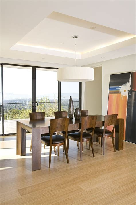 ipe countertop dining room contemporary with cove lighting