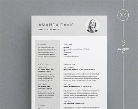 bridget resumecv template word photoshop indesign