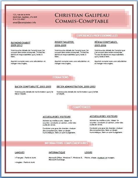 Cv Modele Word Gratuit by Cv Mod 232 Le Gratuit Word Telecharger Cv Fotolib
