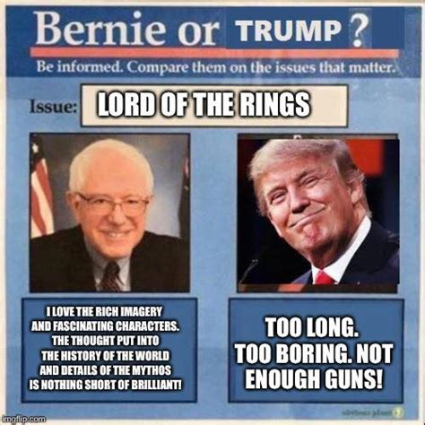 Bernie Hillary Memes - lord of the rings bernie or hillary know your meme