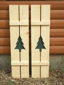Pine Tree Exterior Window Shutters with Cutouts
