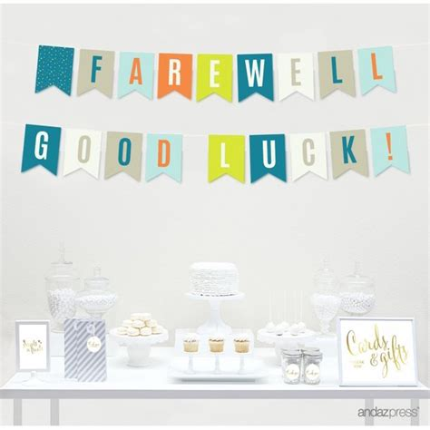 I love a good theme party. Farewell Retirement Party Decorations, Farewell! Good Luck!, Hanging Pennant Paper Banner with ...