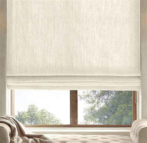 textured belgian linen flat roman shade