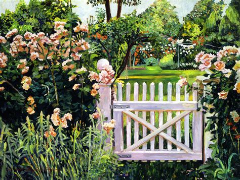 roses at the garden gate painting by david lloyd