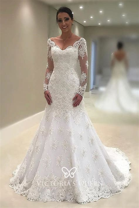 vintage inspired long sleeve trumpet lace wedding dress vq