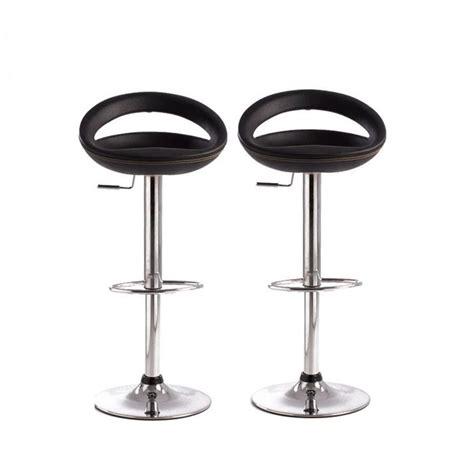 tabourets de bar noir moderne pvc comet lot de 2 achat vente tabouret de bar pvc cuir