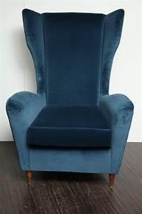 Vintage, Italian, Modern, Wingback, Chairs, In, Blue, Velvet, At, 1stdibs