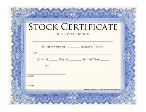 blank stock certificate template printable stock