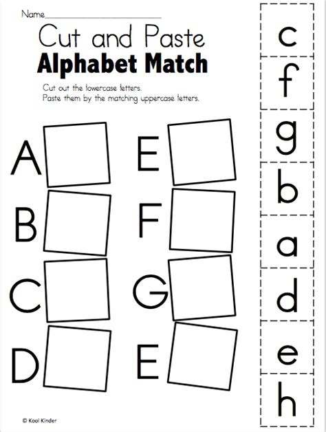 alphabet match worksheet cut and paste freebie