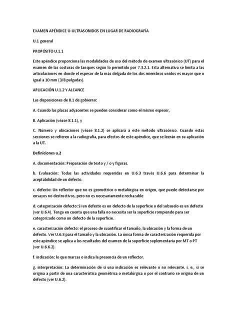 APÉNDICE U api 650.docx | Prueba (evaluación) | Soldadura