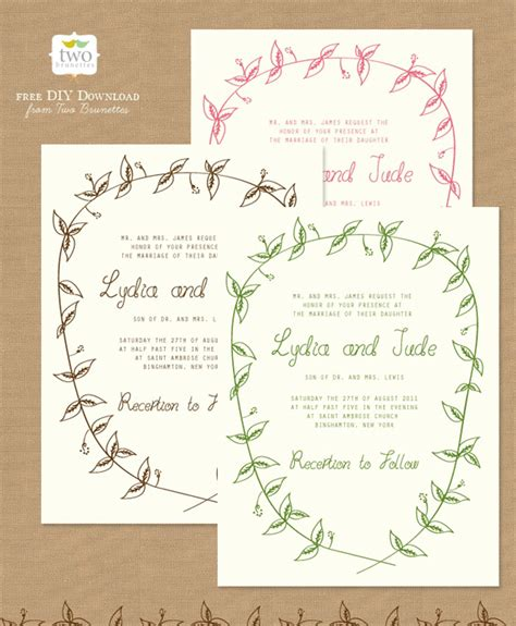10 free printable wedding invitations diy wedding - Print Wedding Invitations
