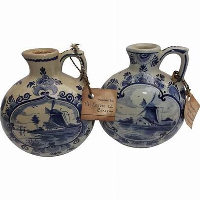 Jugs Pair Liqueur Pottery Delfts Blauw Sailboats