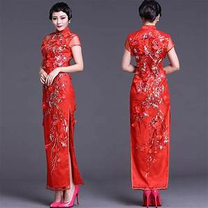 Embroidered-red-floral-gauze-Qipao-traditional-Chinese ...