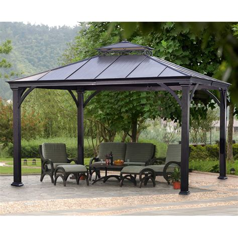 outdoor pergolas and gazebos sunjoy deerfield gazebo outdoor living gazebos canopies pergolas gazebos